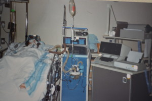 One of my study subjects in the ICU.  Not looking as chipper as I was...