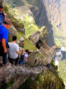 Huayna Picchu stairs at Machu Picchu in Peru